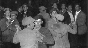 Gay Men dancing at a 'men only' dance hall in Catania